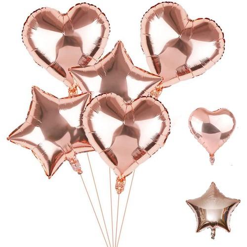 Set da 30 Palloncini Rosa Oro forma cuore