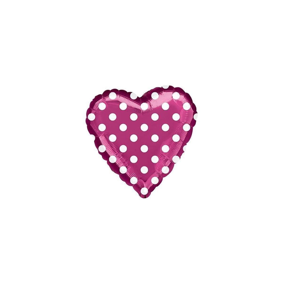 Palloncino a forma di cuore fucsia con pois bianchi, per feste