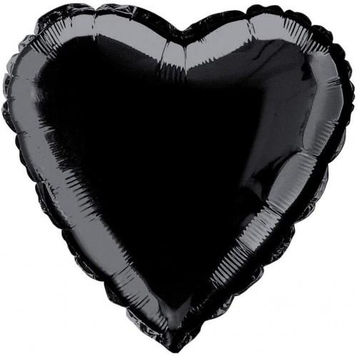 Palloncino nero forma cuore da 45 cm, in mylar, per feste
