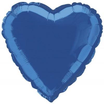 Palloncino blu reale forma cuore , da 45 cm, in lamina