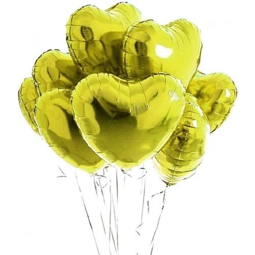 Set da 10 palloncini gialli forma cuore, da 45 cm, in lamina, per feste