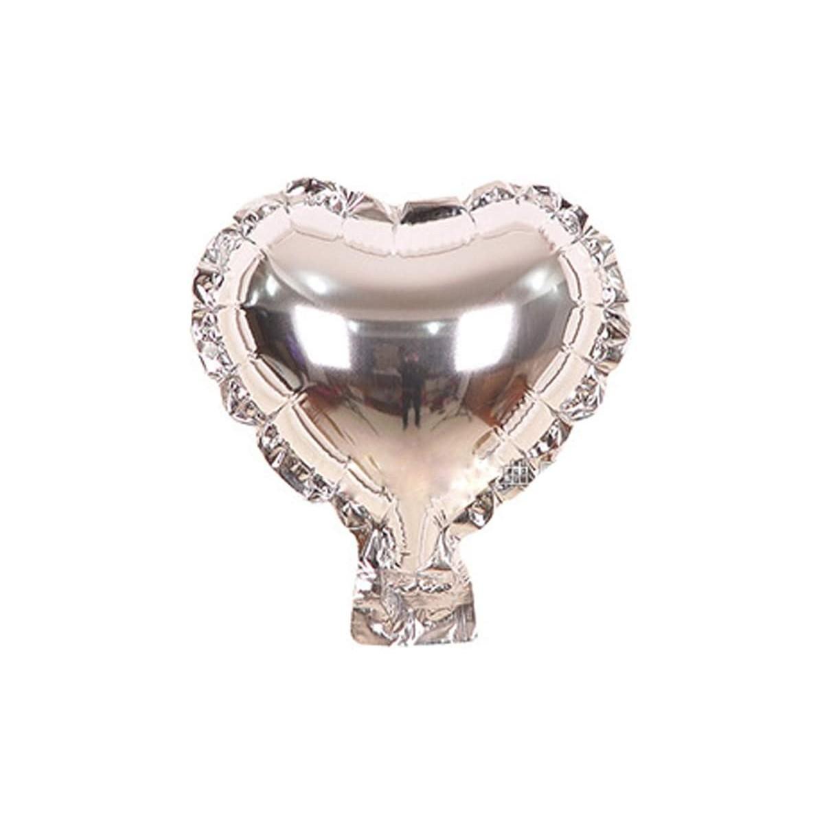 Set da 100 mini palloncini forma cuore argento, mini foil in lamina
