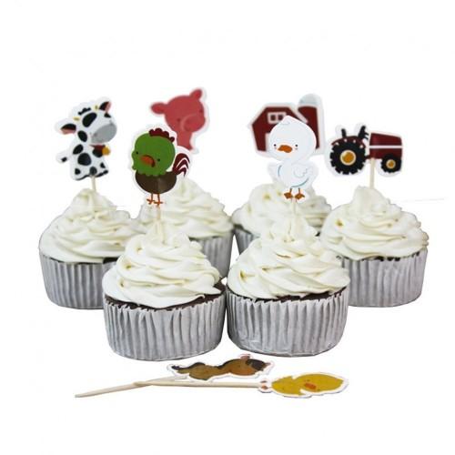 24 cake topper animali fattoria