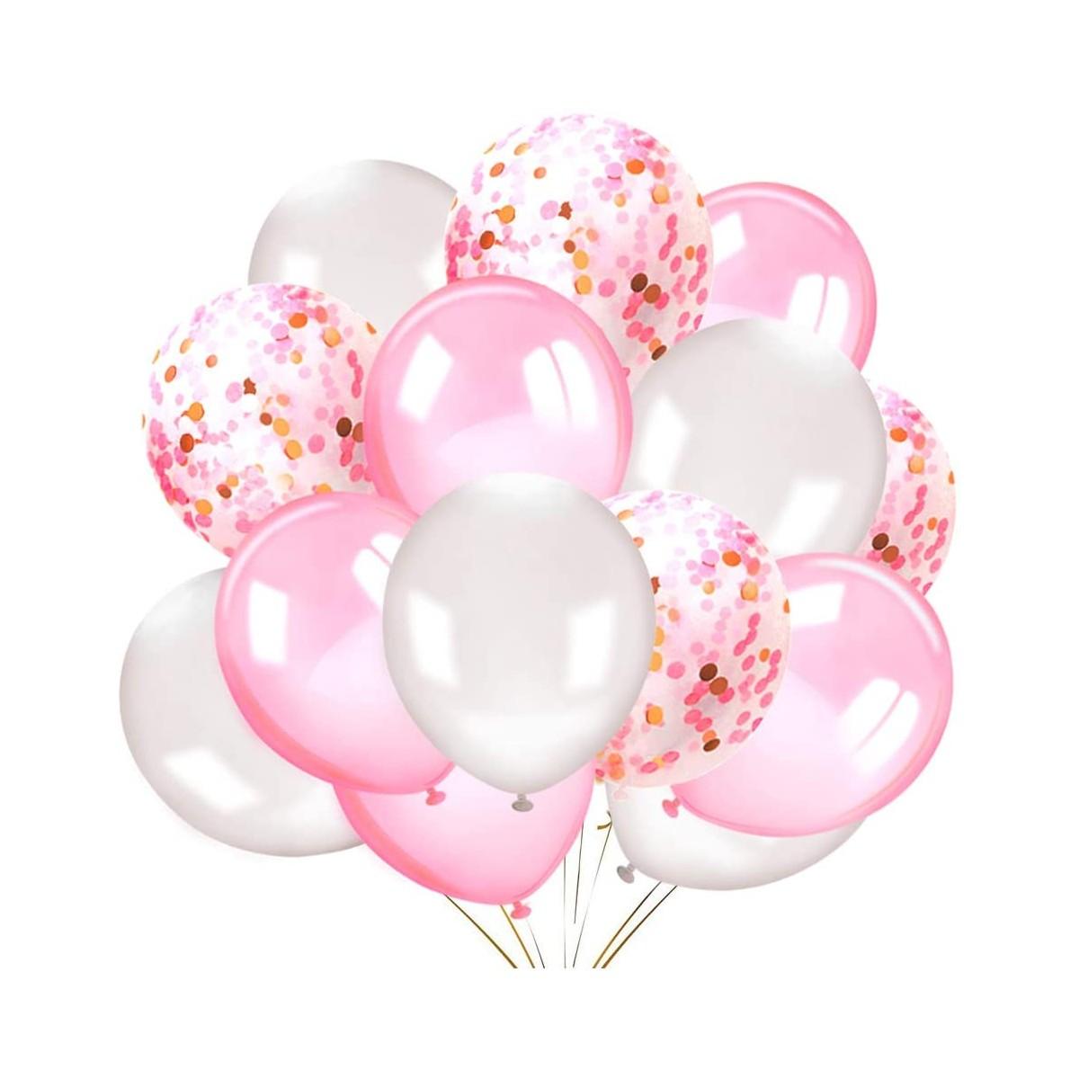 Kit da 50 Palloncini con coriandoli, rosa e bianchi, per feste