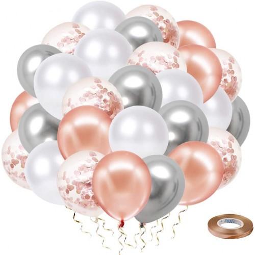 Kit da 40 Palloncini con coriandoli Oro Rosa e argento, per feste