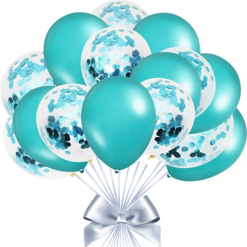 Set da 50 Palloncini con coriandoli celesti metallizzati, in lattice