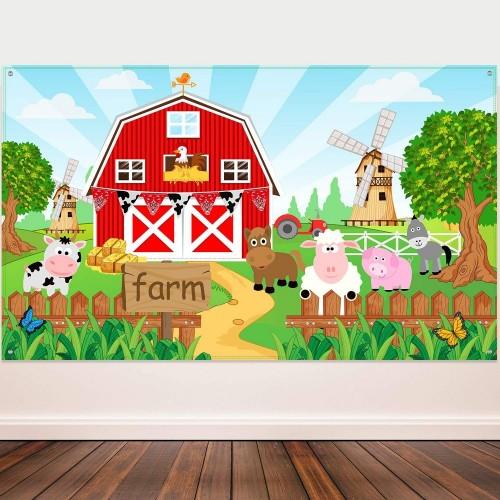 Decorazioni per Feste Animali, Sfondo di Animali Bandiera per Rifornimenti della Festa di Compleanno dei Bambini dellErba, S