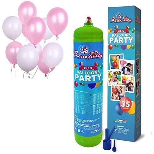Set Bombola Elio con 30 Palloncini rosa e bianchi, per feste