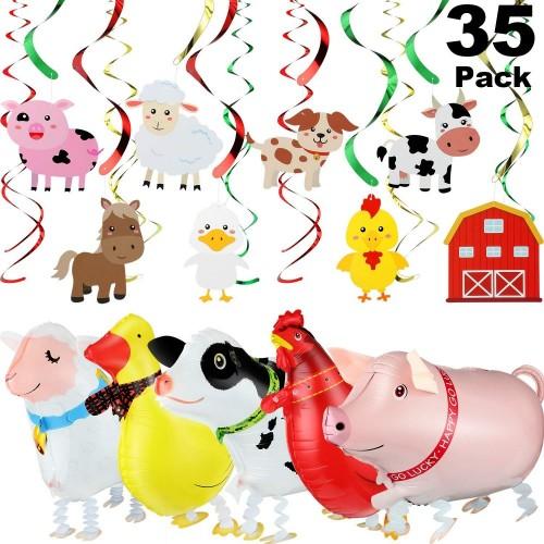Gejoy 35 Pezzi Animali da Fattoria Appesi Turbinii Forniture per Feste in Fattoria Camminare Palloncino per Animali da Fattor