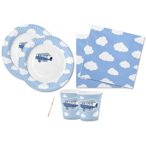 Kit festa per 12 persone Little Plane baby, per baby shower e nascita