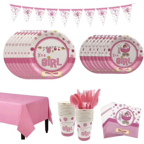 Kit per 8 persone tema Baby Girl, baby shower, festa nascita