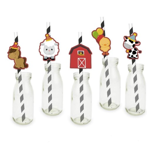 Animali della fattoria Straw 25PCS cannucce di carta da festa forniture decorazione festa di compleanno cannucce cannucce di