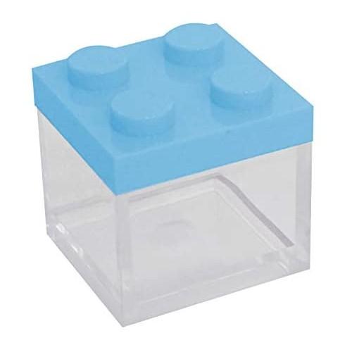 Set da 48 scatoline mattoncini Lego, azzurri, bomboniere nascita
