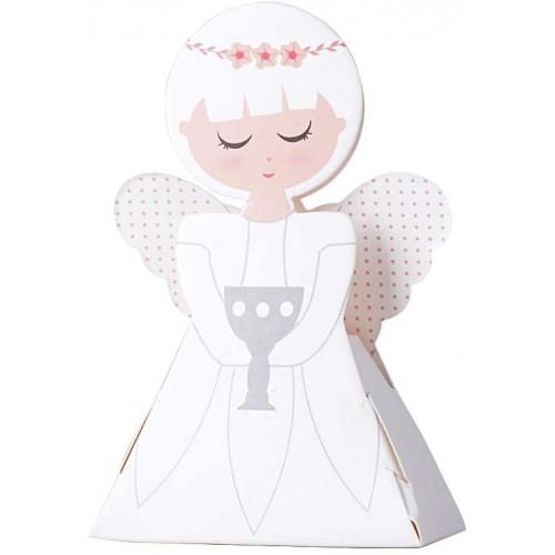 Set da 50 Scatoline angelo rosa per bomboniere nascita