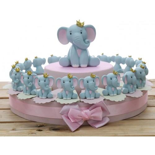 Torta di bomboniere con Elefantino per nascita rosa, 20 fette