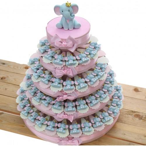 Torta di bomboniere con elefantino, 90 pezzi, 5 ripiani, per nascita rosa