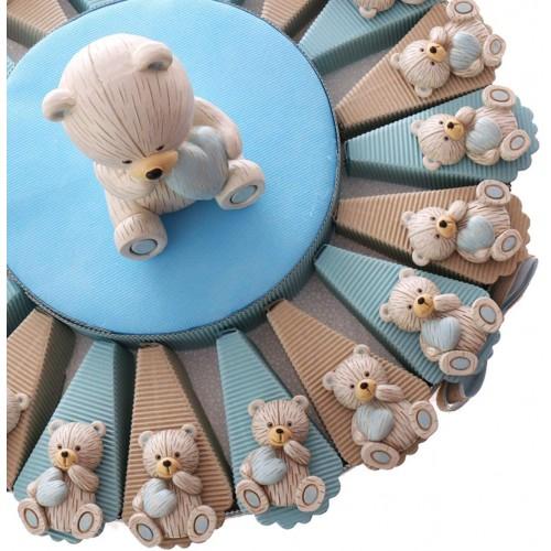 Torta 20 bomboniere con orsetto cuore celeste, con confetti, per nascita
