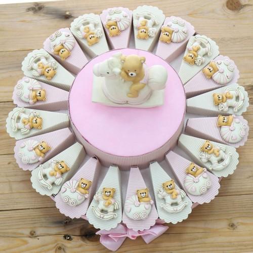 Torta 20 bomboniere con carrozzine e pony rosa, per nascita