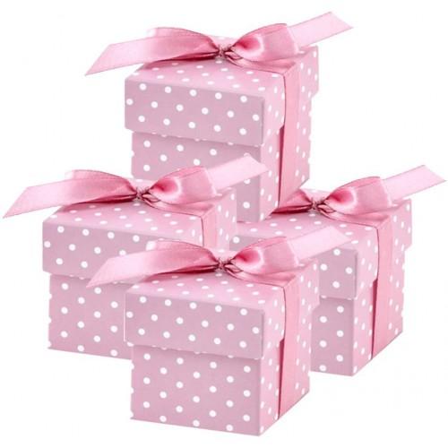 Set con 50 scatoline bomboniere rosa a pois, per nascita o battesimo