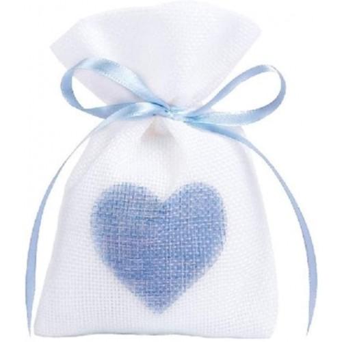 Set da 50 sacchetti con cuore nascita celeste, per bomboniere