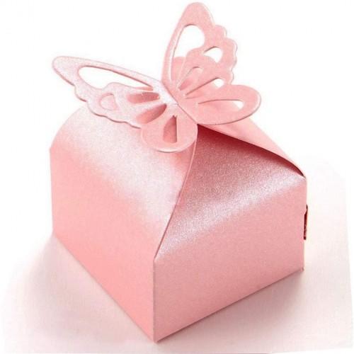 Set da 50 scatoline rosa con farfalla, per bomboniere nascita