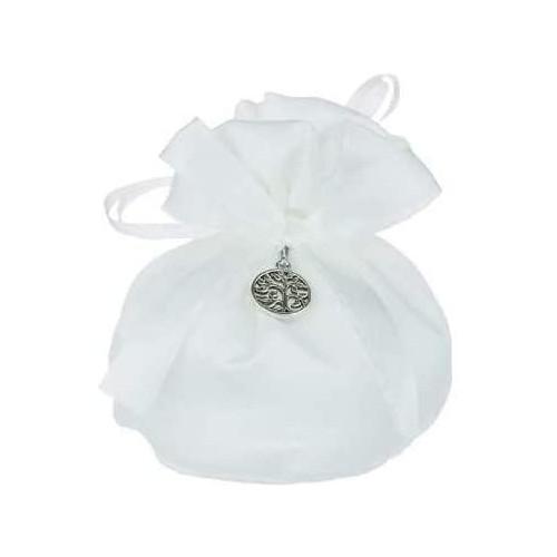 Set da 10 sacchettini bianchi con albero della vita da 8 x 10 cm