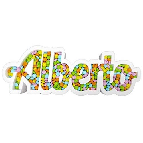Nome Portaconfetti Personalizzato 2° Generazione per Confettata da Appoggio sul Tavolo Anche per Feste Bambini H 22 x 45 cm