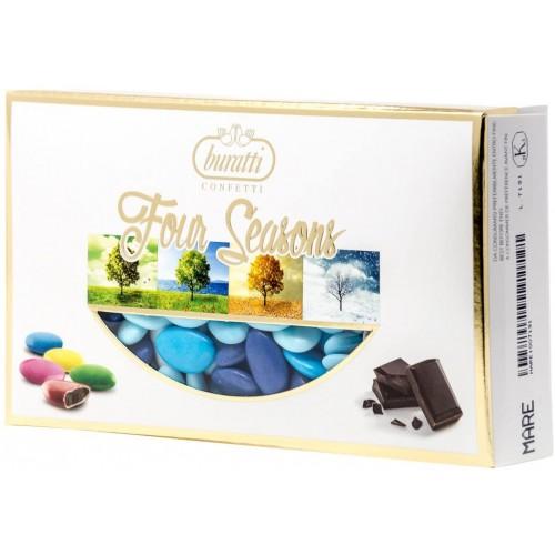 Confetti al cioccolato da 1000 g - Buratti , cioccolato fondente, celesti
