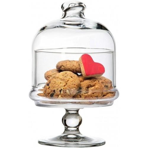 Alzatatina con cupola in vetro per dolci, da 18,5 x 10 cm, per feste e pasticcerie