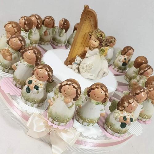 Torta di bomboniera con angeli in ceramica, 21 bomboniere incluse