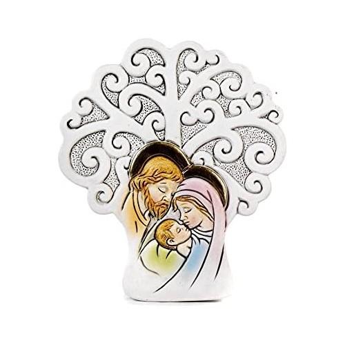 Set da 12 Bomboniere Albero della Vita con Sacra Famiglia, in resina