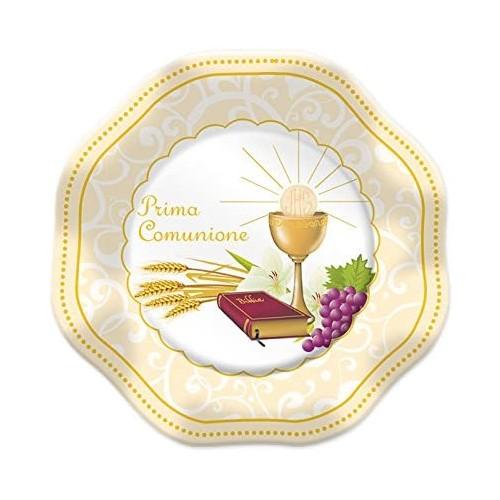 Set da 8 piatti sagomati Prima Comunione, eleganti e raffinati, in cartoncino