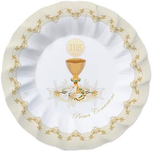 Set da 40 Piattini dessert Prima Comunione, in cartoncino plastificato