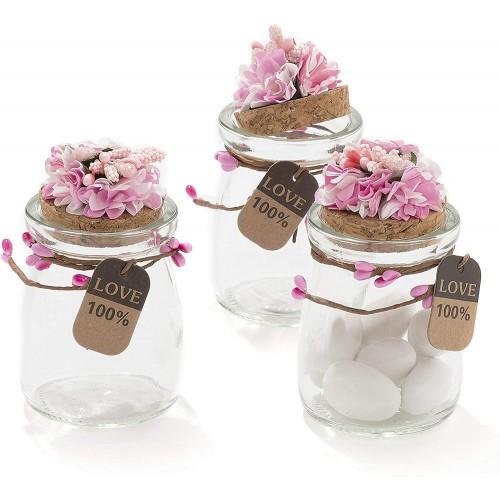 Set da 20 Barattoli in Vetro con fiori decorativi e tappo in sughero