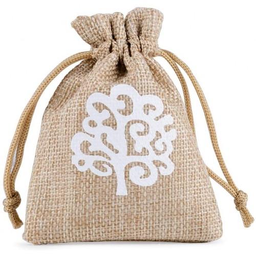 Set da 24 sacchetti Iuta con albero della vita da 8 x 10 cm