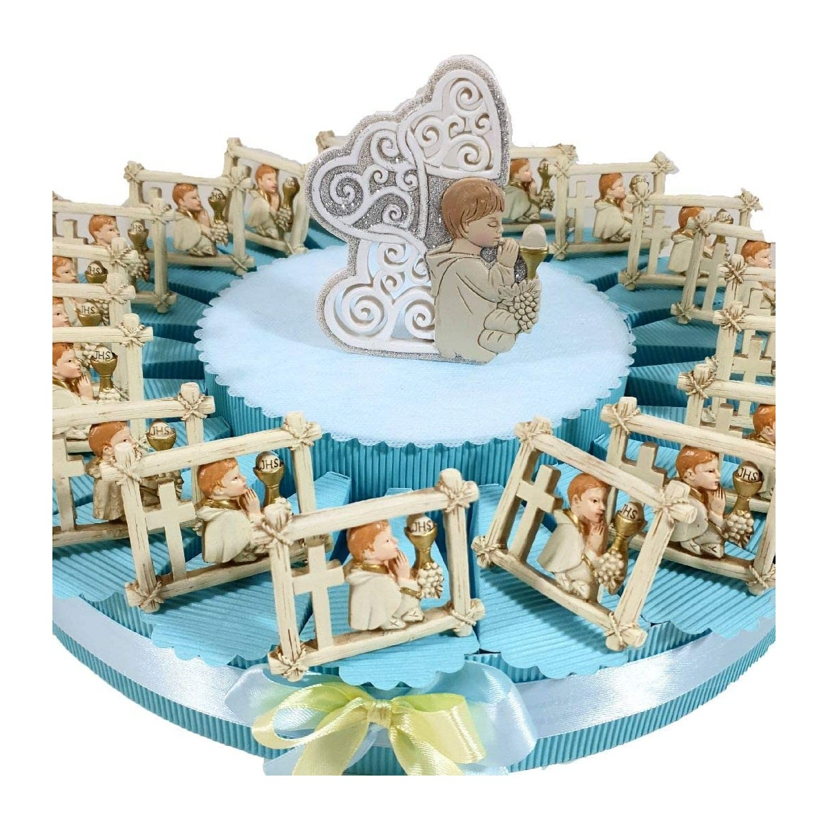 Torta bomboniere Prima Comunione da 80 x 3 x 50 cm, con 20 bomboniere