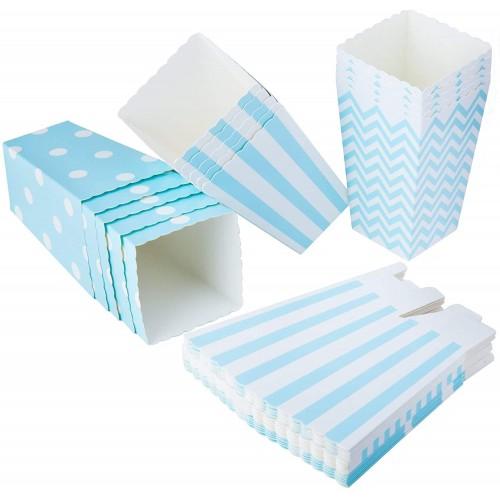 Set da 36 scatole contenitori confetti, celesti a pois, accessorio tavola