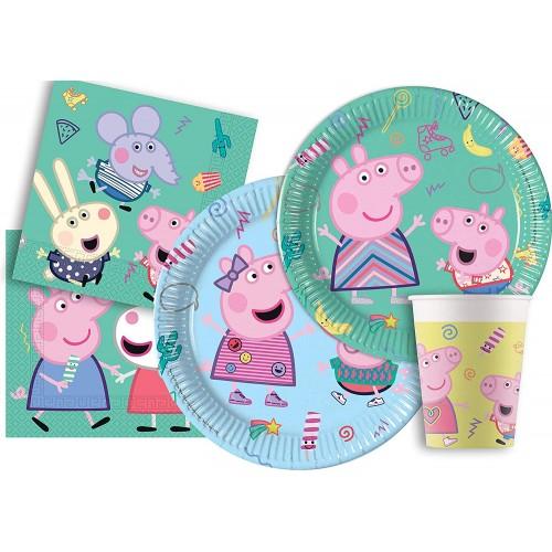 Kit compleanno 8 persone Peppa pig Nuovo design