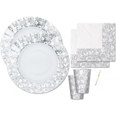 Kit festa 16 persone argento, per matrimonio, coordinato tavola