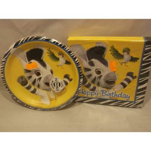 SET PIATTI TOVAGLIOLI ZOU LA ZEBRA CON SFONDO GIALLO HAPPY BIRTHDAY FESTA PARTY