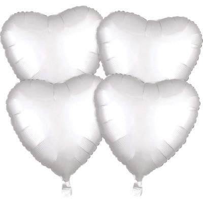 Set da 4 palloncini forma cuore argento, per matrimonio e feste a tema