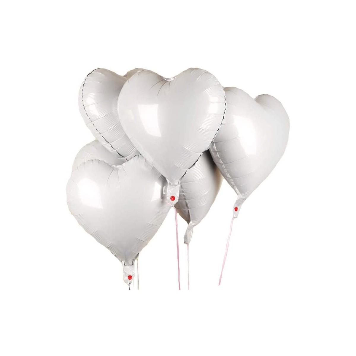 Set di 25 palloncini forma cuore da 45,7 cm, bianchi, in alluminio