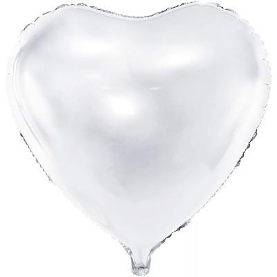 Palloncino in mylar a forma di cuore, da 61 cm, bianco, per allestimenti