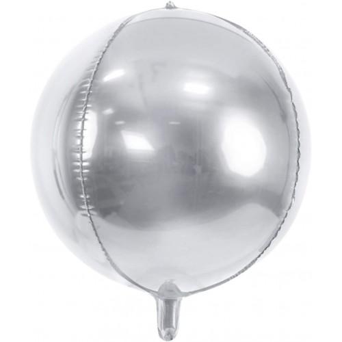 Palloncino Tondo argento metallizzato da 45 cm, in mylar