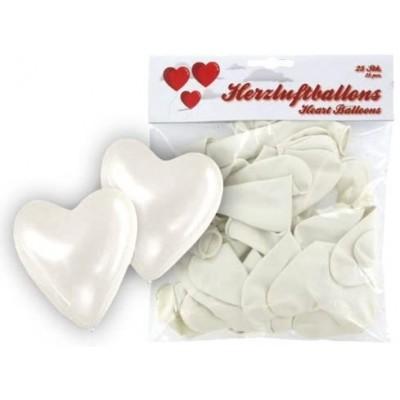 confezione da 25 palloncini forma cuore da matrimonio, in lattice naturale, bianchi