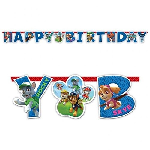 Ghirlanda Paw Patrol Lettere Happy Birthday