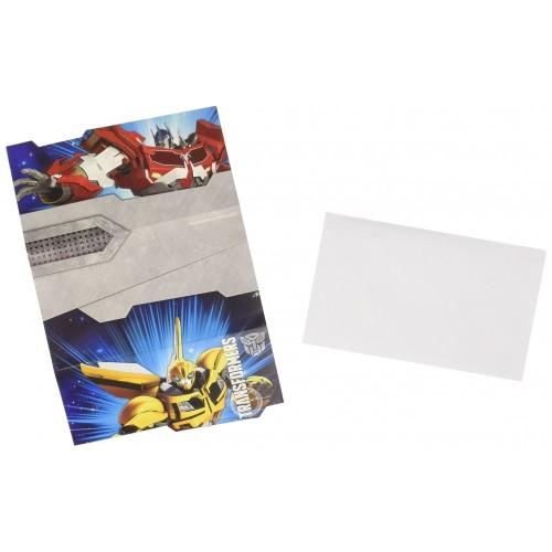 6 Cartoncini DInvito Transformers