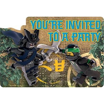 Inviti Lego Ninjago, 6 inviti di compleanno, cartolina