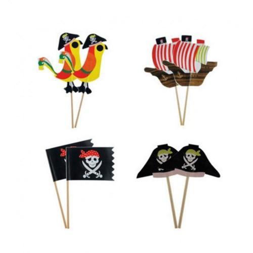 Amosfun, stuzzicadenti decorativi pirati, 80 pezzi, per torte e cupcake, decorazioni per compleanni di bambini, 24 pezzi