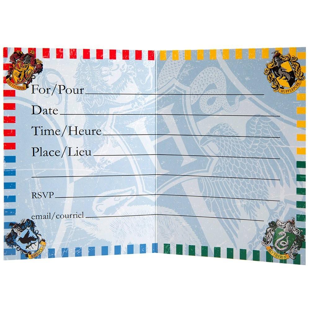 Inviti Harry Potter - 8 inviti in cartoncino plastificato